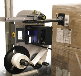 E-Tamp Labeler System on Shrink Wrapped Pallet