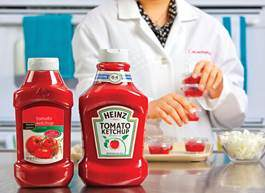 Ketchup bottles in a laboratory