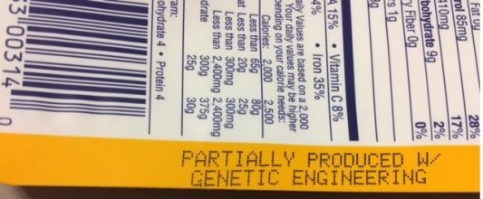 'Genetic Engineering' notation near nutrition facts