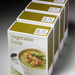 Code printed on box containing soup