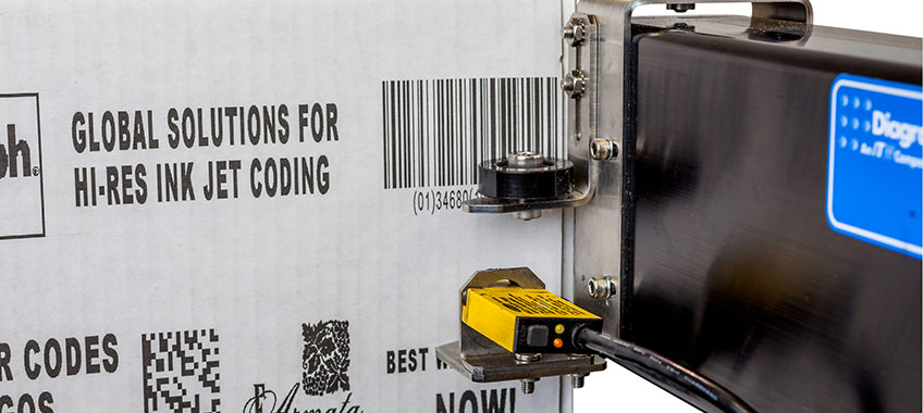 Cardboard box shows printing that reads 'Global solutions for hi-res ink jet coding'